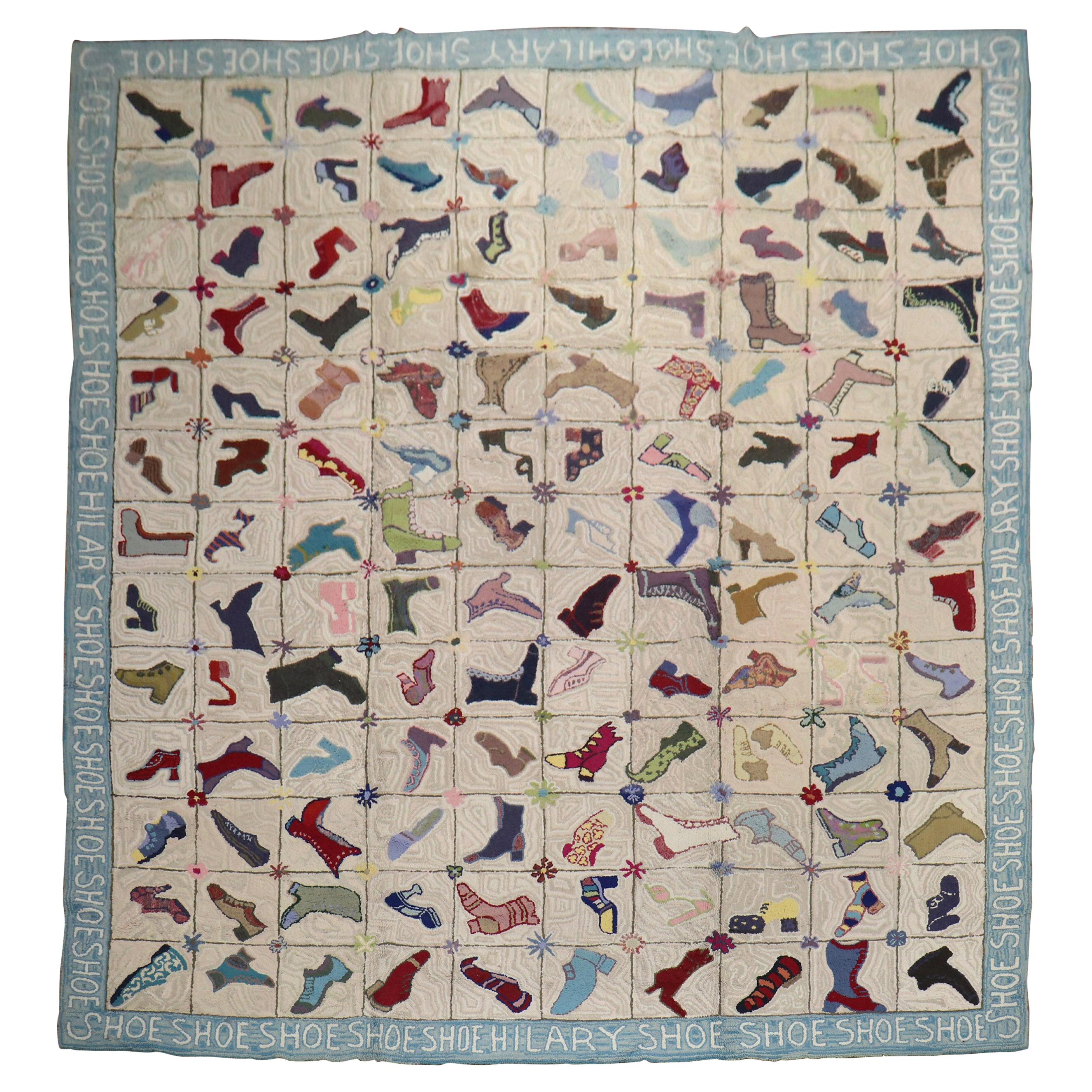 Rare Shoe Pattern Ivory Blue Room Size American Hooked Rug