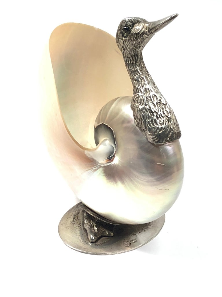 Rare Signed Binazzi Italy small trinket bowl. Natural shell combined with silver plated sculpture.  1970s, made in Italy.   This piece is in near excellent condition with some signs of ageing with a small hairlike crack on the shell, please refer to