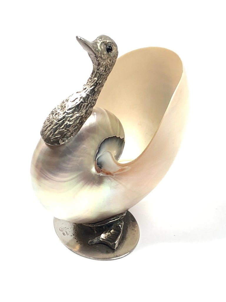 Italian Rare Signed Binazzi Goose Shell Trinket Bowl Sculpture, 1970s, Italy For Sale