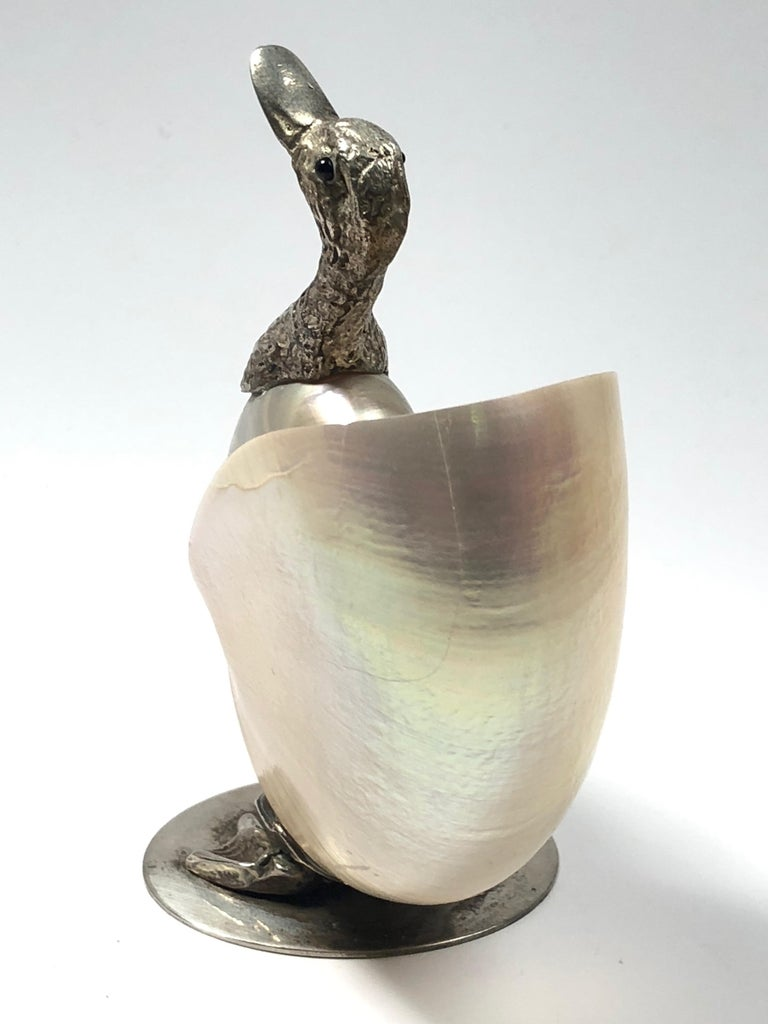 Rare Signed Binazzi Goose Shell Trinket Bowl Sculpture, 1970s, Italy In Excellent Condition For Sale In Vis, NL