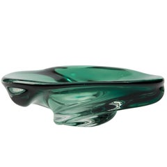 Rare Signed Daum Ashtray by Val Saint Lambert in Green Crystal, 1950s