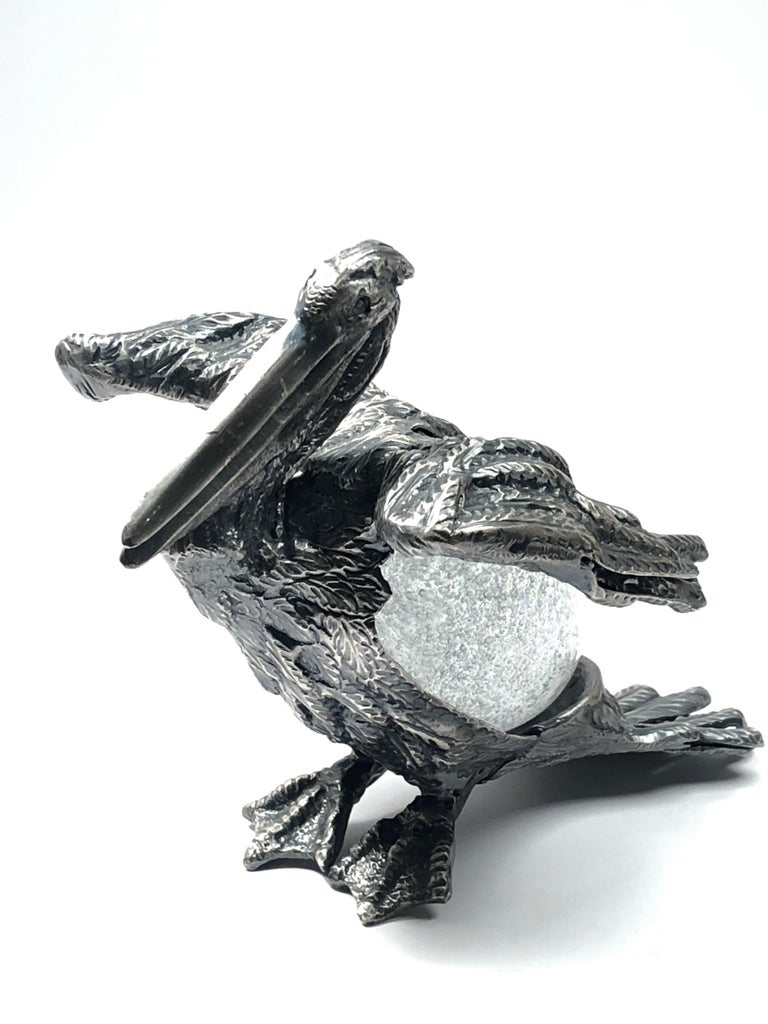 Hand-Crafted Rare Signed Gabriella Crespi Bird Silver Pelican Sculpture, 1970s, Italy For Sale