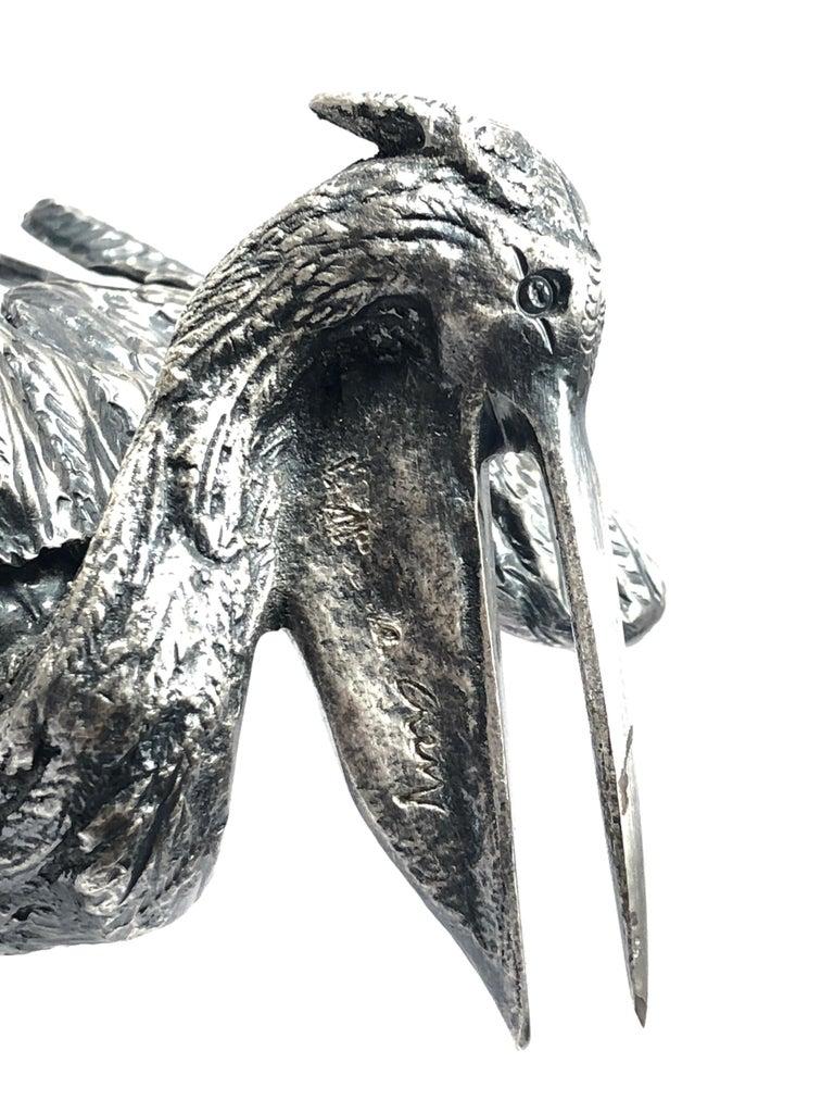 Late 20th Century Rare Signed Gabriella Crespi Bird Silver Pelican Sculpture, 1970s, Italy For Sale