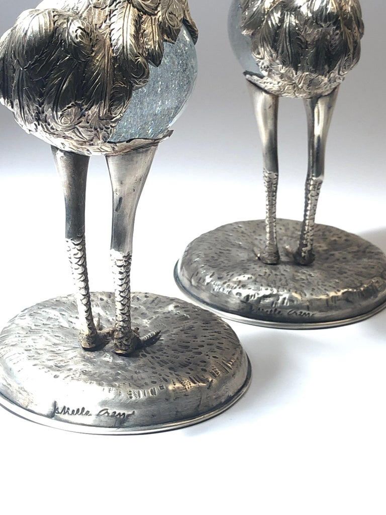 Hand-Crafted Rare Signed Gabriella Crespi Ostrich Set of Two Sculpture, 1970s, Italy For Sale