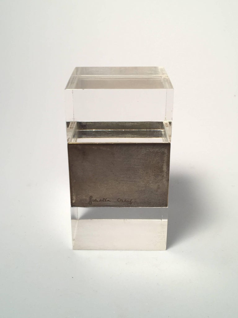 Rare signed Gabriella Crespi in plexiglass and old chrome box for a stylish desk.  1970s, made in Italy.   This piece is in good vintage condition with grey patina on the chrome consistent with age.   An amazing and seldom piece.