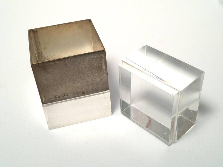 Italian Rare Signed Gabriella Crespi Plexiglass and Chrome Box Desk, 1970s, Italy For Sale