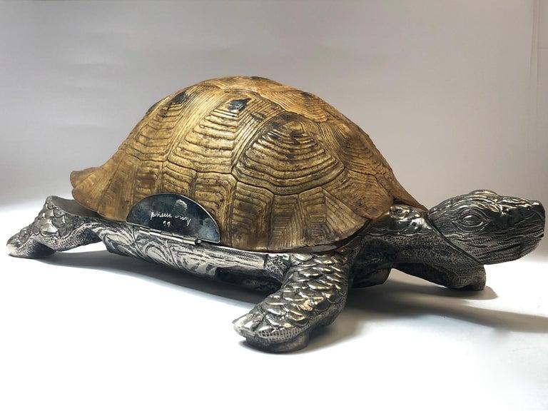 Italian Rare Signed Gabriella Crespi Large Real Turtle Shell Box Silver Sculpture, 1970 For Sale