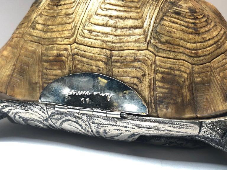 Appliqué Rare Signed Gabriella Crespi Large Real Turtle Shell Box Silver Sculpture, 1970 For Sale