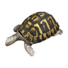 Rare Signed Gabriella Crespi Real Turtle Shell Box Silver Sculpture, 1970