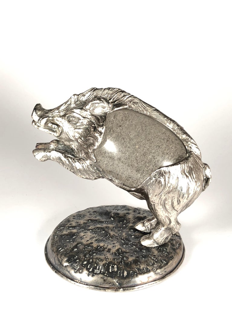 Rare Signed Gabriella Crespi wild boar with Murano blown glass detail sculpture.