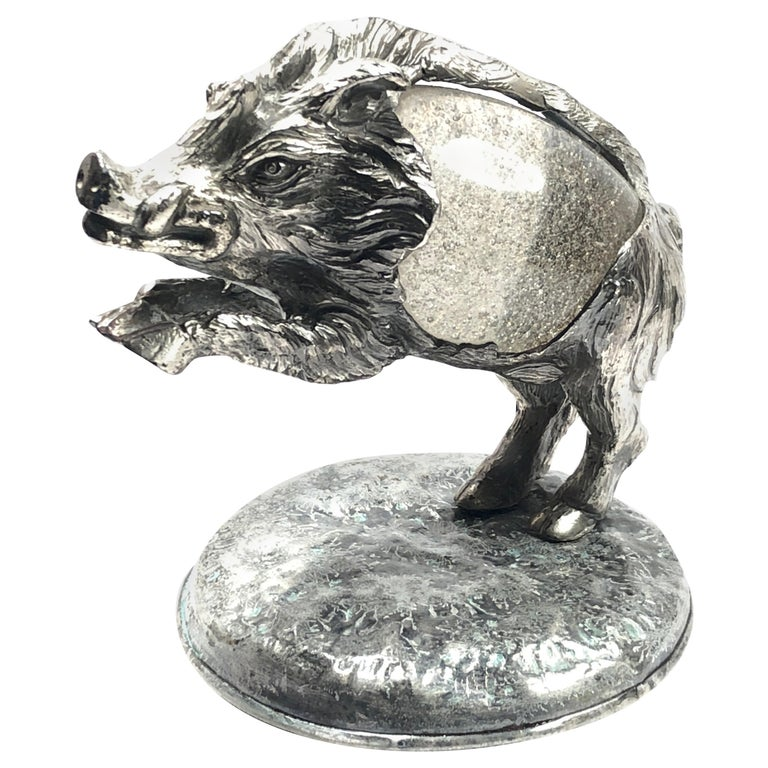 Rare Signed Gabriella Crespi Wild Boar Sculpture, 1970s, Italy For Sale