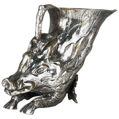 Rare Signed Gabriella Crespi Wild Boar Sculpture Rhyton, 1970s, Italy