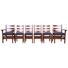 Rare Signed Gustav Stickley Mission Oak Arts & Crafts Dining Chairs, Restored