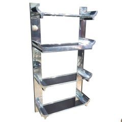 Rare Signed Karl Springer Lighted Wall Shelving Unit in Lucite and Aluminum