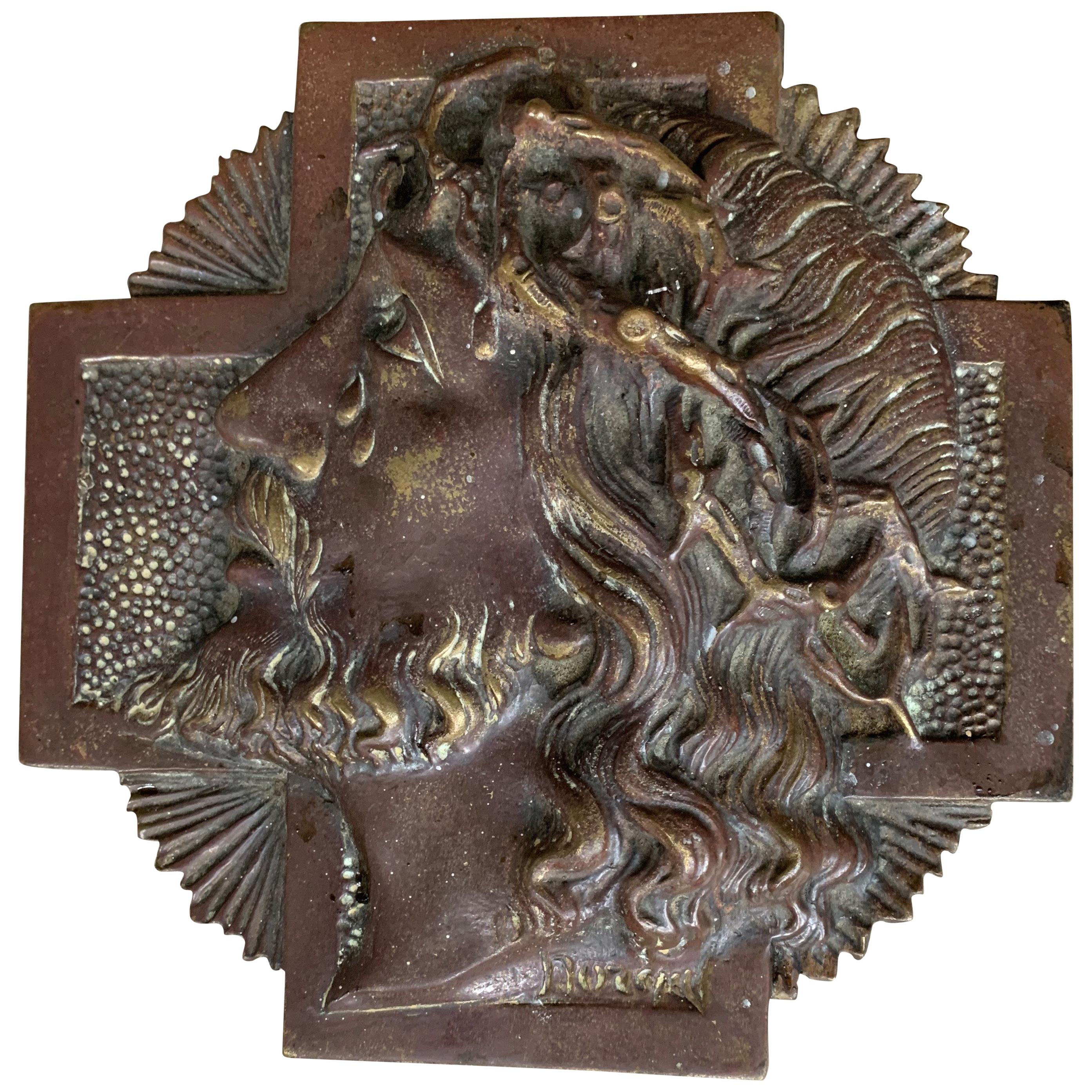 Rare & Signed Sylvain Norga Religious Bronze Plaque of Suffering Christ in Tears