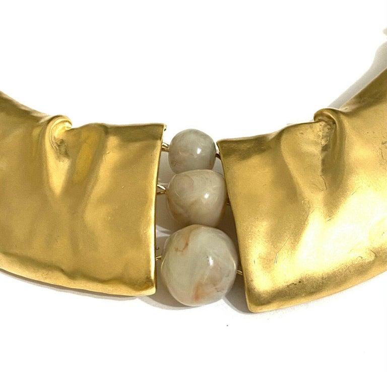 Women's Rare Signed Trifari Designer Lucite Beads Golden Modernist Choker Necklace For Sale