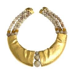 Rare Signed Trifari Designer Lucite Beads Golden Modernist Choker Necklace