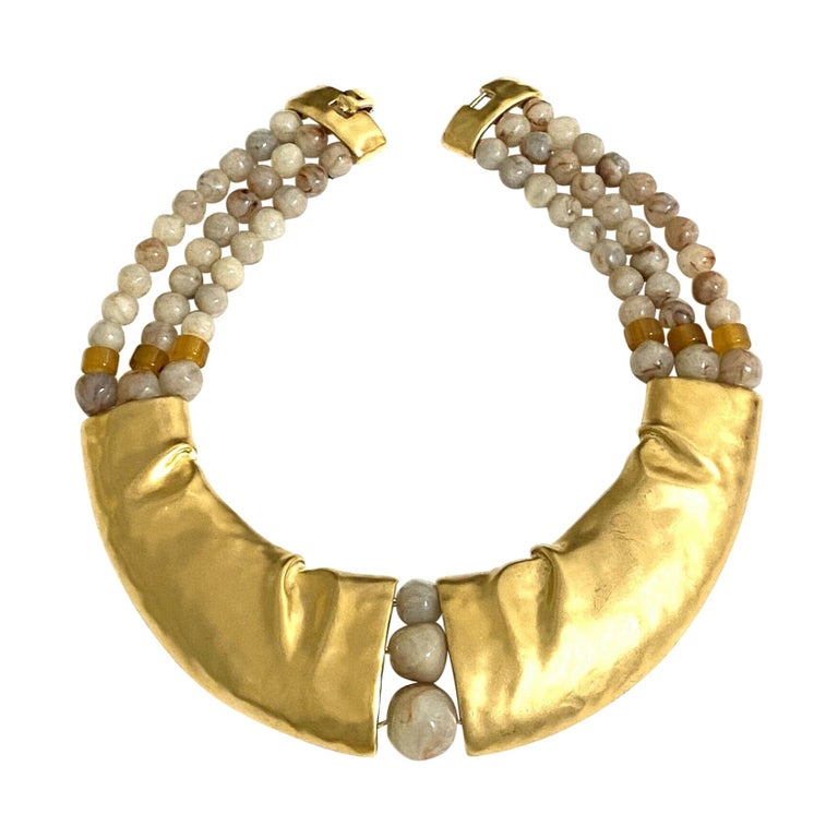 Rare Signed Trifari Designer Lucite Beads Golden Modernist Choker Necklace For Sale