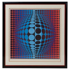 Rare Signed Victor Vasarely, Silkscreen Print, 1970s