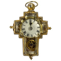 Rare Silver Gilt and Crystal Cruciform Watch with Virgule Escapement