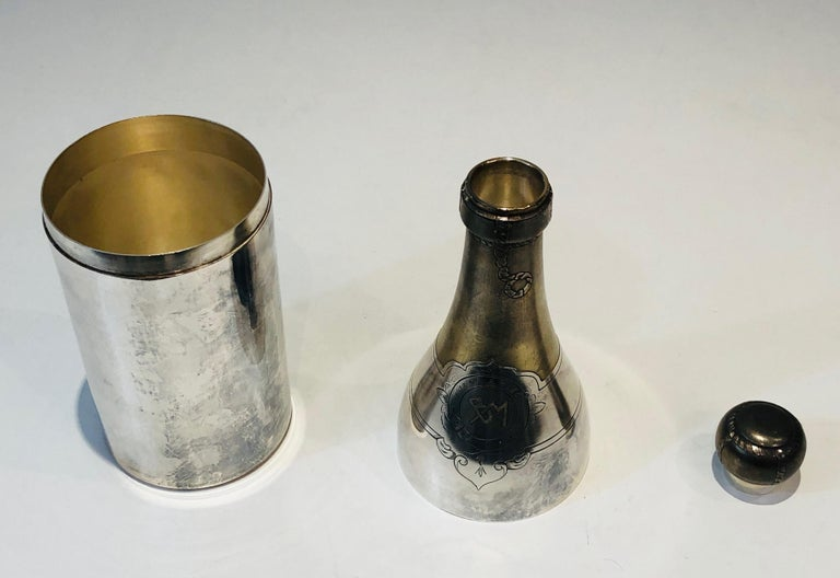 Rare Silver Plated and Brass Shaker Presenting a Champagne Bottle, French, Circa For Sale 3
