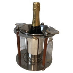 Rare Silver Plated and Leather Champagne Bucket with Flutes Holder, French, Circ