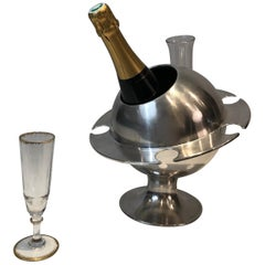 Rare Silver Plated Champagne Bucket with Flutes Holder, French, circa 1970