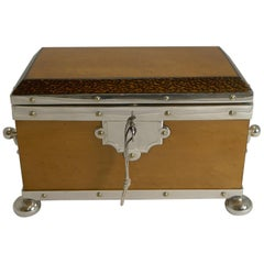 Rare Silver Plated Mounted Bird's-Eye Maple and Palm Wood Tea Caddy, circa 1890