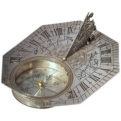 Rare Silver Pocket Sundial and Compass by Michael Butterfield, Paris, circa 1700