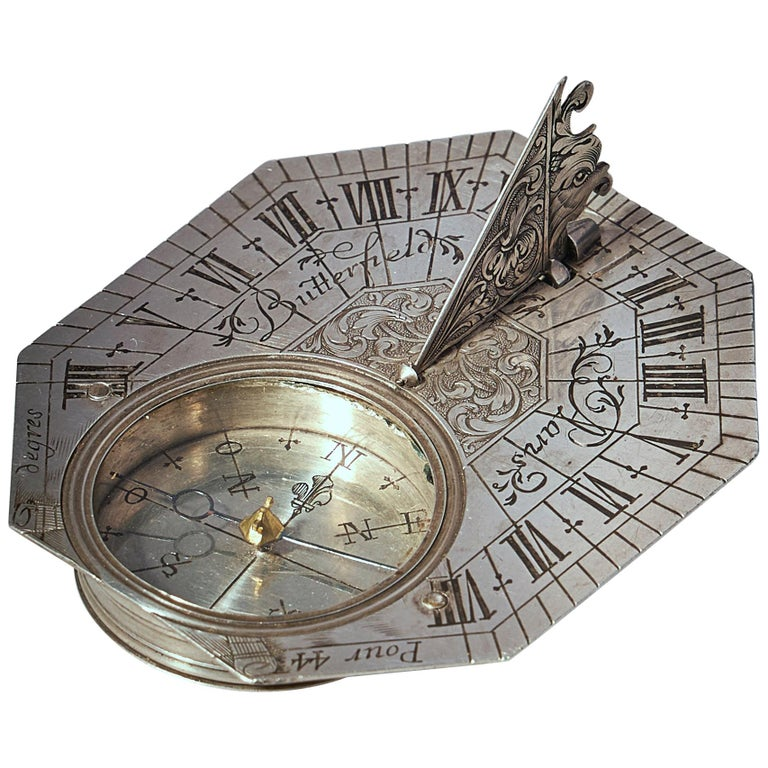 Rare Silver Pocket Sundial and Compass by Michael Butterfield, Paris, circa 1700 For Sale