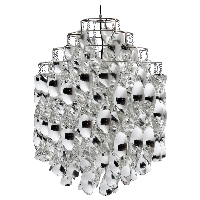 Rare Silver SP01 Spiral Lamp by Verner Panton for J. Lüber Switzerland, 1969