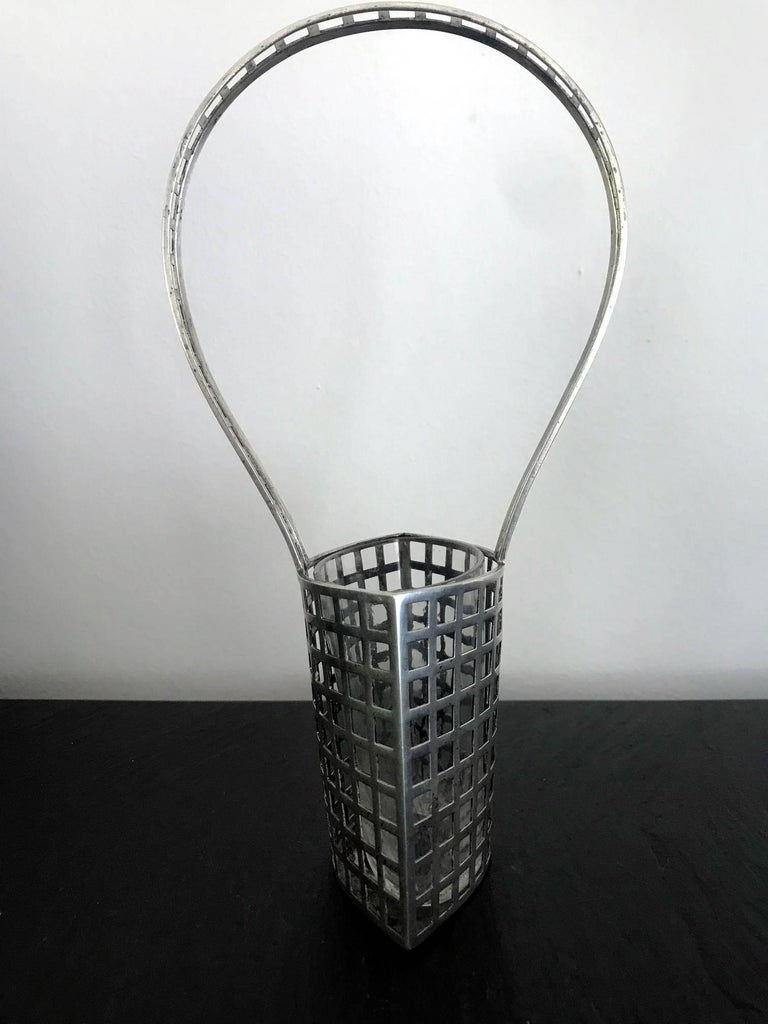 Vienna Secession Rare Silver Vase with Glass Insert by Josef Hoffmann for Wiener Werkstätte For Sale