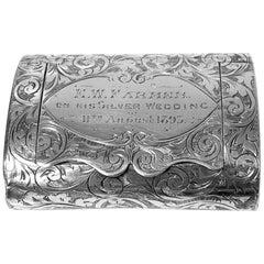 Rare Silver Vesta Case in form of clutch Purse Birmingham 1892 Thomas Hayes