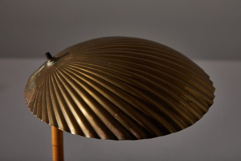 Rattan Rare Simpukka Table Lamp by Paavo Tynell for Taito Oy For Sale