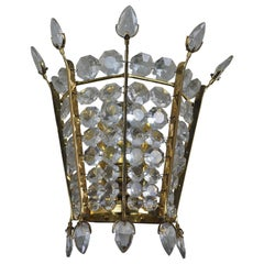 Rare Single Crystal and Brass Wall Sconce by Bakalowits, Austria, circa 1950s