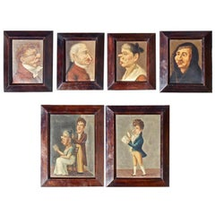 Rare Six Early 19th Century Caricature Portrait Paintings of Spanish Actors