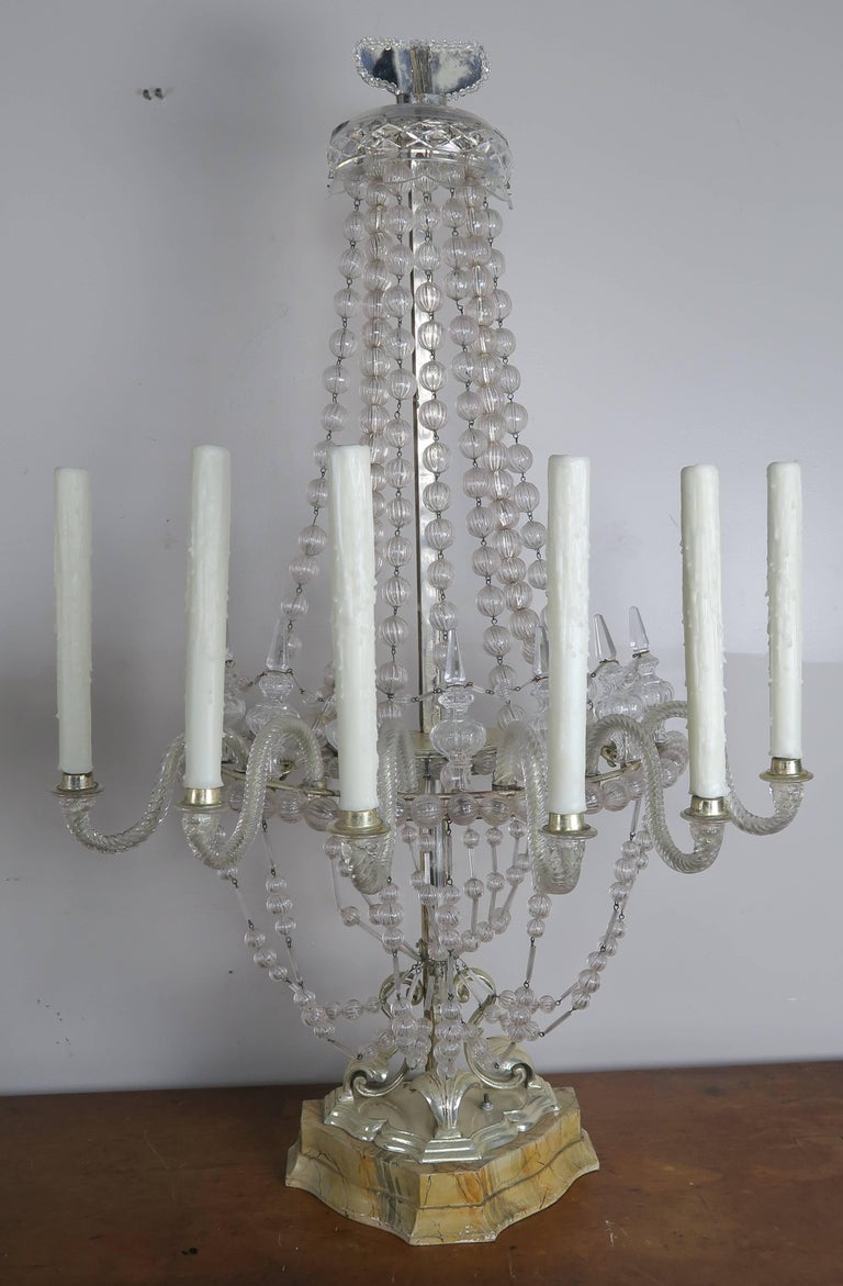 Rare Six-Light Handblown Murano Glass Lamps, Pair For Sale 5