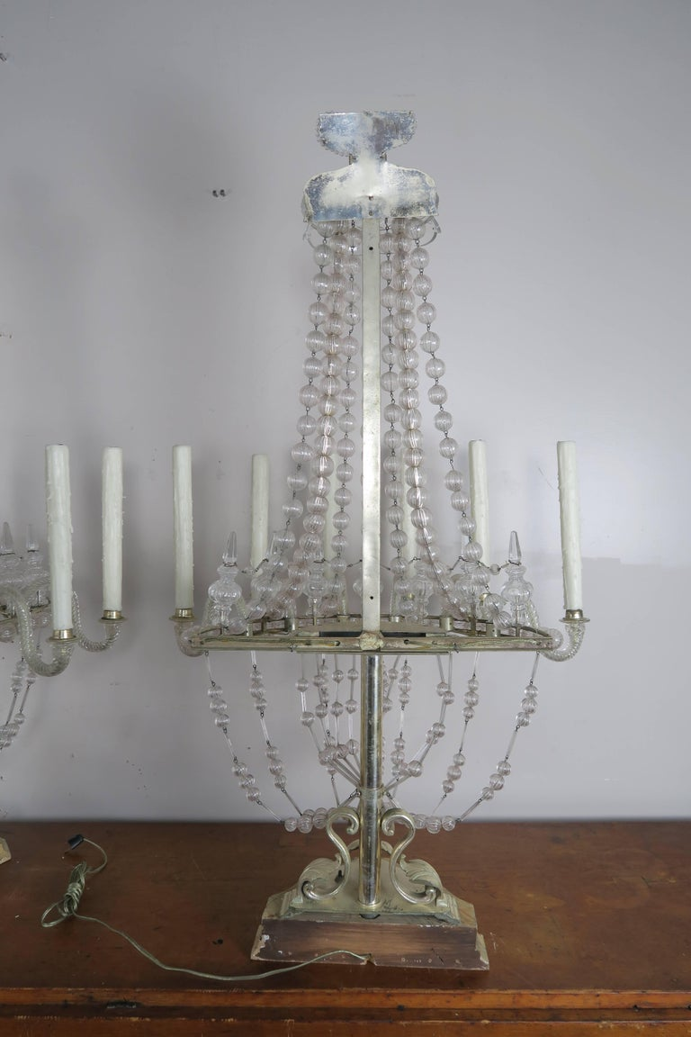 Rare Six-Light Handblown Murano Glass Lamps, Pair For Sale 6