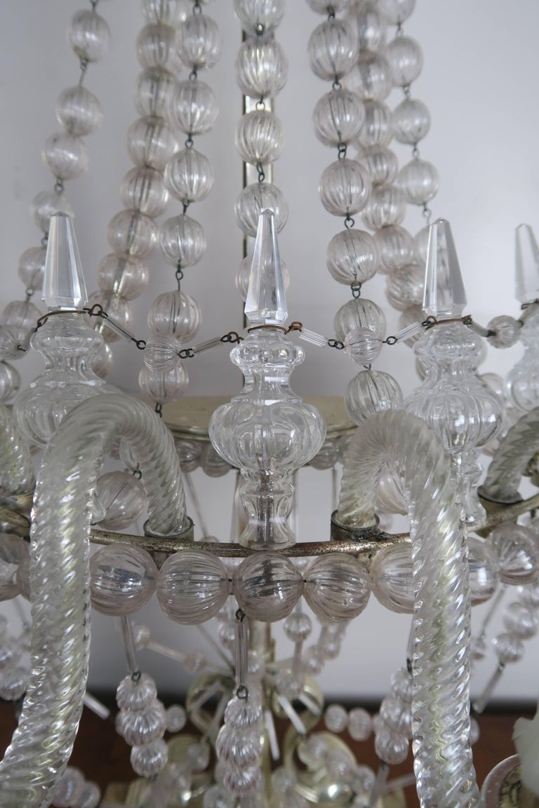 Italian Rare Six-Light Handblown Murano Glass Lamps, Pair For Sale