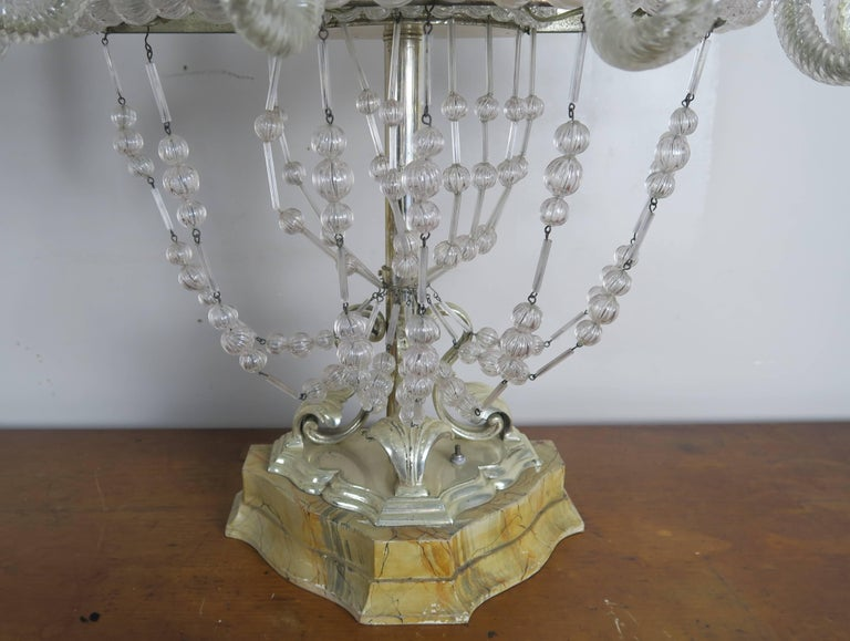 Rare Six-Light Handblown Murano Glass Lamps, Pair In Distressed Condition For Sale In Los Angeles, CA