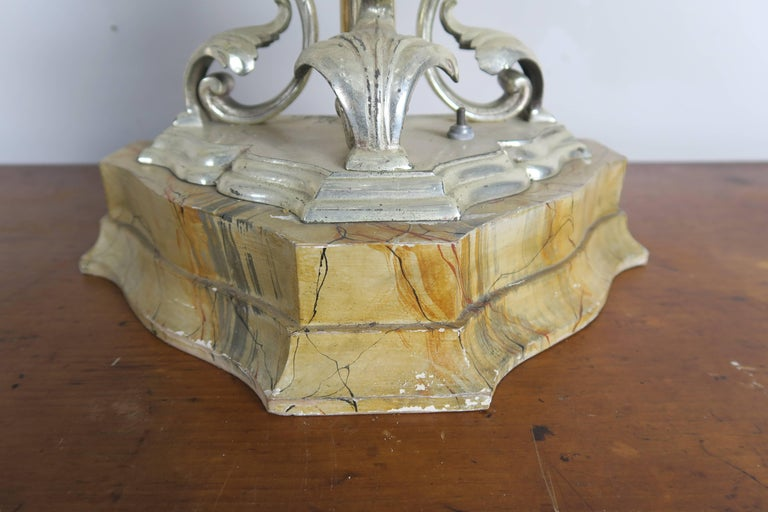 Silver Plate Rare Six-Light Handblown Murano Glass Lamps, Pair For Sale