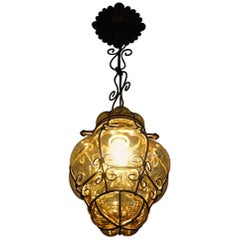 Rare Size Amber Colored Mouthblown Glass in Metal Frame Venetian Murano Pendant
