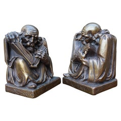 Rare & Skillfully Crafted Pair of Patinated Brass, Alchemist Sculpture Bookends