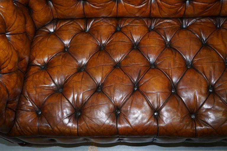 Rare Sloped Back Victorian Chesterfield Hand Dyed Brown Leather Sofa Horse Hair For Sale 5