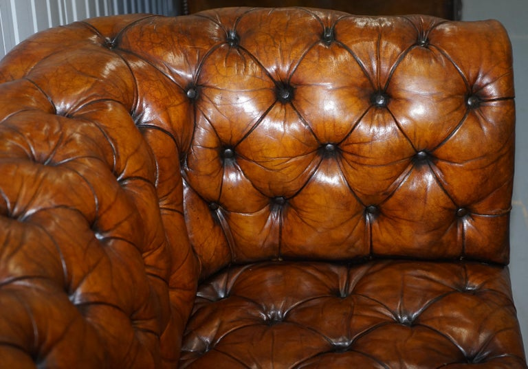 Rare Sloped Back Victorian Chesterfield Hand Dyed Brown Leather Sofa Horse Hair For Sale 6