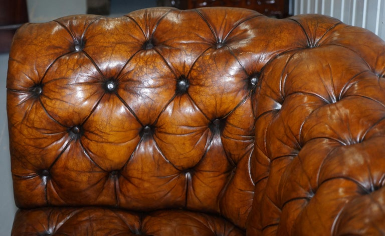 Rare Sloped Back Victorian Chesterfield Hand Dyed Brown Leather Sofa Horse Hair For Sale 7