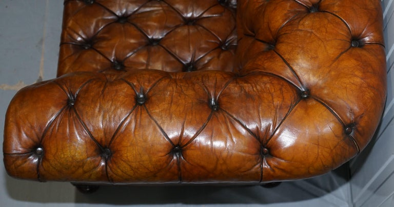 Rare Sloped Back Victorian Chesterfield Hand Dyed Brown Leather Sofa Horse Hair For Sale 8