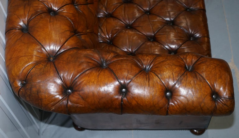 Rare Sloped Back Victorian Chesterfield Hand Dyed Brown Leather Sofa Horse Hair For Sale 9