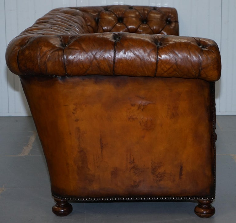 Rare Sloped Back Victorian Chesterfield Hand Dyed Brown Leather Sofa Horse Hair For Sale 10