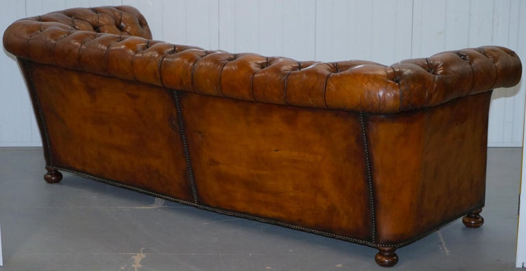 Rare Sloped Back Victorian Chesterfield Hand Dyed Brown Leather Sofa Horse Hair For Sale 11